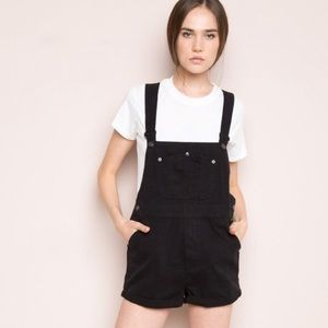 Brandy Melville black overall shorts OS cuffed hem